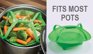 SILICONE VEGETABLE STEAMER W/HANDLES
