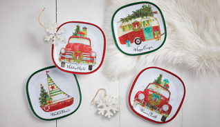 HOLIDAY VACATION SQUARE PLATES-SET OF 4