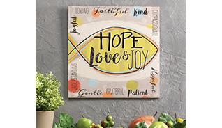 HOPE LOVE JOY FRAMED WOOD PRINT