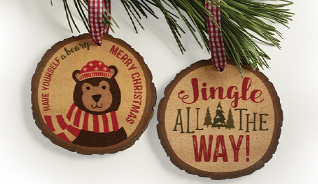 BEARY MERRY ORNAMENTS, SET OF 2