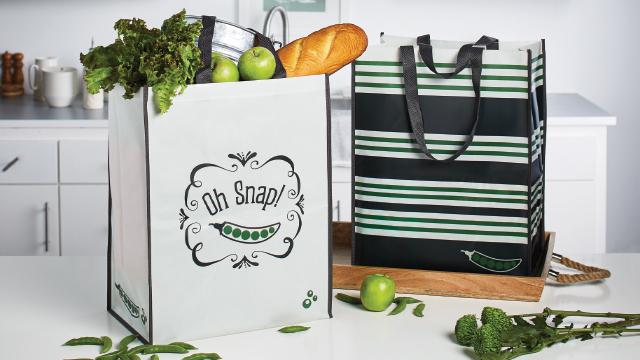 OH SNAP & STRIPE GROCERY TOTES, SET OF 2